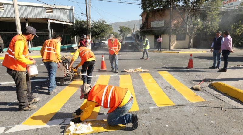 Concluye Monterrey primera etapa de delimitación de cruces peatonales