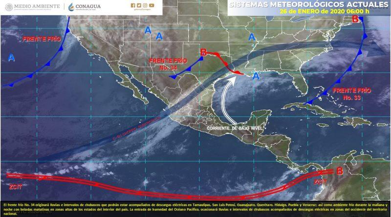 Frente frío No. 34recorrerá el Noreste y Oriente del país