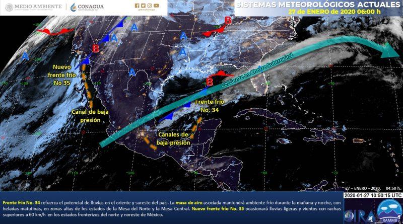Nuevo frente frío ocasionará vientos superiores a 50 km/h