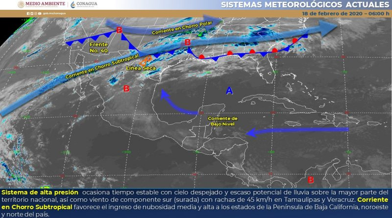 Frente frío No. 40ingresará por la tarde-noche al país