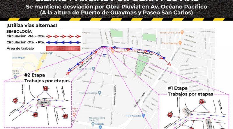 Anuncian cierre de vialidad en Guadalupe por obra pluvial