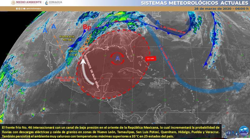 Frente frío provocará lluvias en el Noreste del país