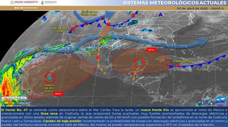 Pronostican lluvias y torbellinos para NL, Coahuila y Tamaulipas